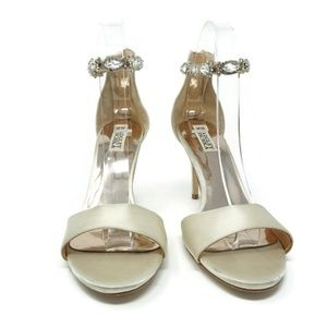 Badgley Mischka Shoes - Badgley Mischka Ivory Geranium Crystal Ankle Strap